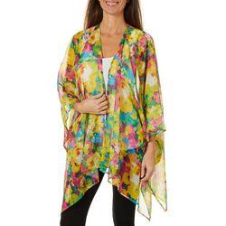 Hailey Lyn Womens Flowers Of Paradise Kimono Top