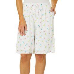 Hailey Lyn Womens Martini Print Drawstring Bermuda Shorts