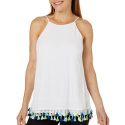 Hailey Lyn Womens Gauze Tassel Trim Tank Top