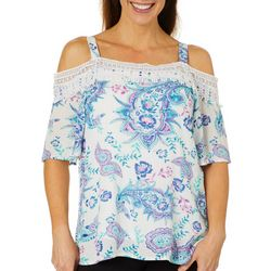Hailey Lyn Womens Crochet Trim Paisley Cold Shoulder Top