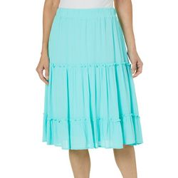 Hailey Lyn Womens Solid Gauze Ruffle Skirt