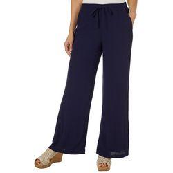 Hailey Lyn Womens Solid Gauze Wide Leg Pants