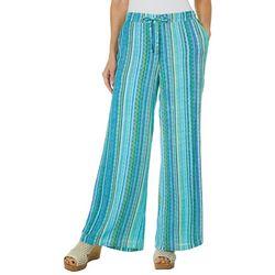 Hailey Lyn Womens Striped Gauze Wide Leg Pants