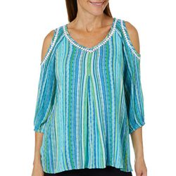 Hailey Lyn Womens Striped Gauze Cold Shoulder Top