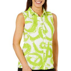 Hailey Lyn Womens Gauze Swirl Print Sleeveless Top