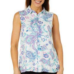 Hailey Lyn Womens Gauze Swirl Print Sleeveless Top