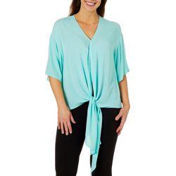 Hailey Lyn Womens Tie Front Flutter Sleeve Gauze Top