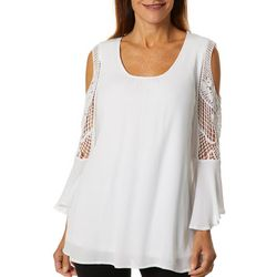 Hailey Lyn Womens Crochet Cold Shoulder Bell Sleeve Top