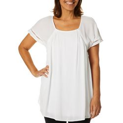 Hailey Lyn Womens Solid Scoop Neck Short Sleeve Top