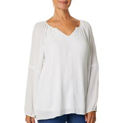 Hailey Lyn Womens Solid Embroidered Long Sleeve Peasant Top