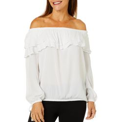 Hailey Lyn Womens Solid Ruffle Off The Shoulder Top