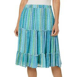 Hailey Lyn Womens Striped Gauze Ruffle Skirt