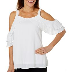 Hailey Lyn Womens Cold Shoulder Wing Sleeve Top