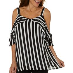 Hailey Lyn Womens Striped Cold Shoulder Wing Sleeve Top