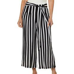 Hailey Lyn Womens Striped Gauze Tie Waist Capris