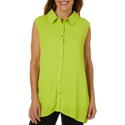 Hailey Lyn Womens Gauze Solid Button Down Sleeveless Top