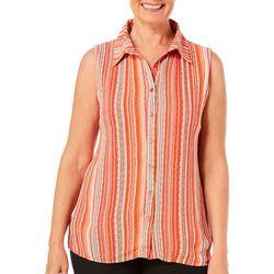 Hailey Lyn Womens Striped Button Down Gauze Tank Top