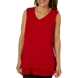Hailey Lyn Womens Solid Layered V-Neck Tank Top