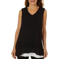 Hailey Lyn Womens Two Tone Layered V-Neck Tank Top