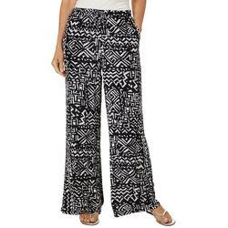 Hailey Lyn Womens Aztec Print Gauze Wide Leg Pants