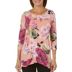 2b Together Womens Floral Print Ruffle Trim Top