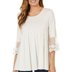 2b Together Womens Lace Sleeve Empire Top