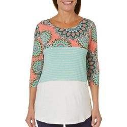 2b Together Womens Colorblock Medallion Stripe Top