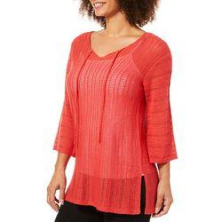 Tribekka 44 Womens Solid Tie Neck Beach Sweater