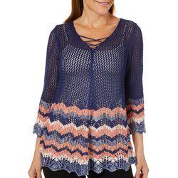 Tribekka 44 Womens Border Print Lace-Up Beach Sweater