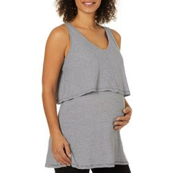 Grayson Womens Maternity Striped Popover Sleeveless Top