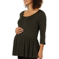 Grayson Womens Maternity Striped Ruffled Babydoll Top
