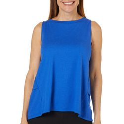 Grayson Womens Maternity Solid Tiered Back Sleeveless Top