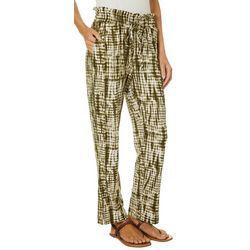 Wanderlux Womens Tie Dye Print Drawstring Pull On Pants