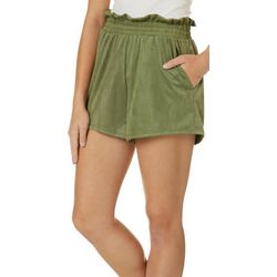 Wanderlux Womens Solid Faux Suede Shorts