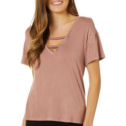 Wanderlux Womens Solid Caged V-Neck Short Sleeve Top