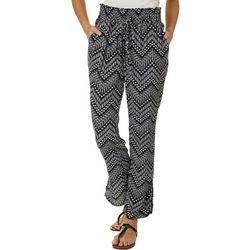 Wanderlux Womens Geo Chevron Print Drawstring Waist Pants