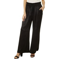 Wanderlux Womens Solid Satin Pull On Pants