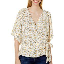 Wanderlux Womens Floral Surplice Short Sleeve Top