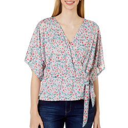 Wanderlux Womens Feminine Floral Surplice Short Sleeve Top