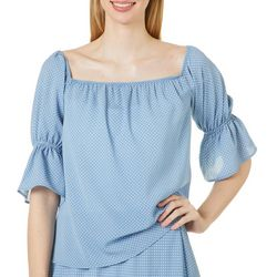 Wanderlux Womens Polka Dot Print Ruffle Sleeve Top