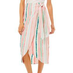 Wanderlux Womens Striped Faux Wrap Skirt