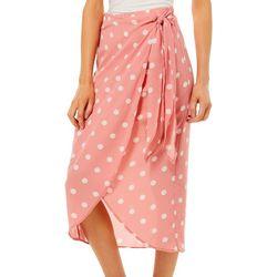 Wanderlux Womens Dotted Faux Wrap Skirt