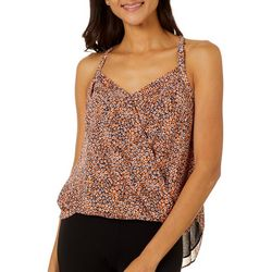 Naked Zebra Womens Animal Print Surplice Sleeveless Top