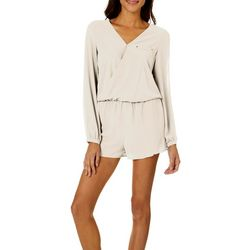Naked Zebra Womens Solid Long Sleeve Romper
