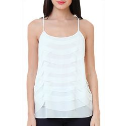 Naked Zebra Womens Solid Layered Sleeveless Top