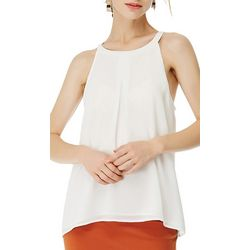 Naked Zebra Womens Solid Pleated Sleeveless Top