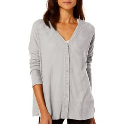 HYFVE Womens Solid Waffle Texture Button Down Cardigan