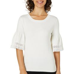 Chelsea & Theodore Womens Tassel Trim Bell Sleeve Top