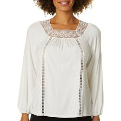 Nanette Lepore Womens Crochet Cutout Long Sleeve Top