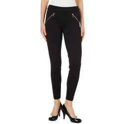 Nanette Lepore Womens Solid Zip Pocket Ponte Pants